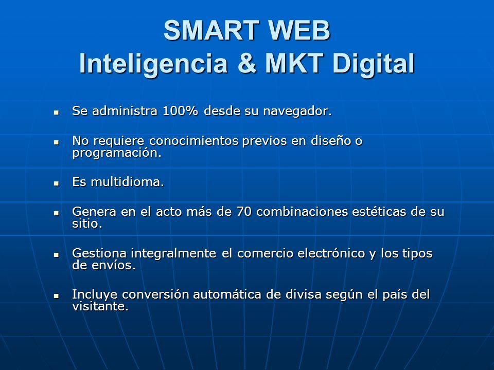 SMART WEB Inteligencia & MKT Digital Se administra 100% desde su navegador.