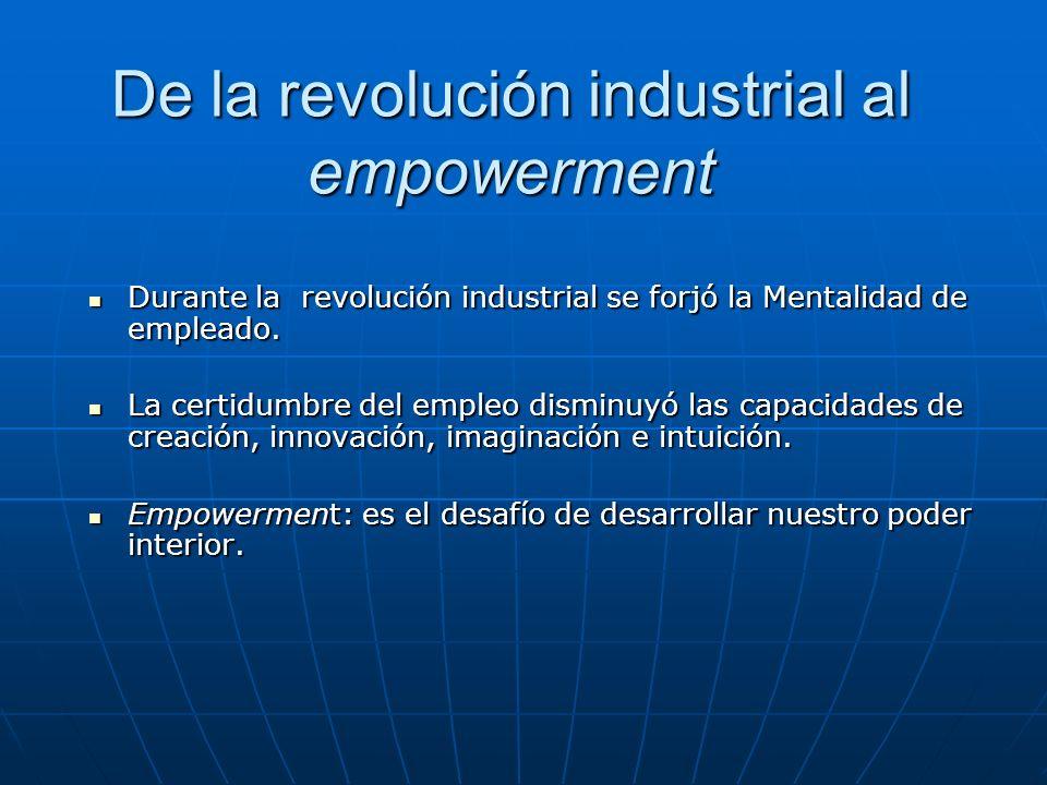 De la revolución industrial al empowerment Durante la revolución industrial se forjó la Mentalidad de empleado.