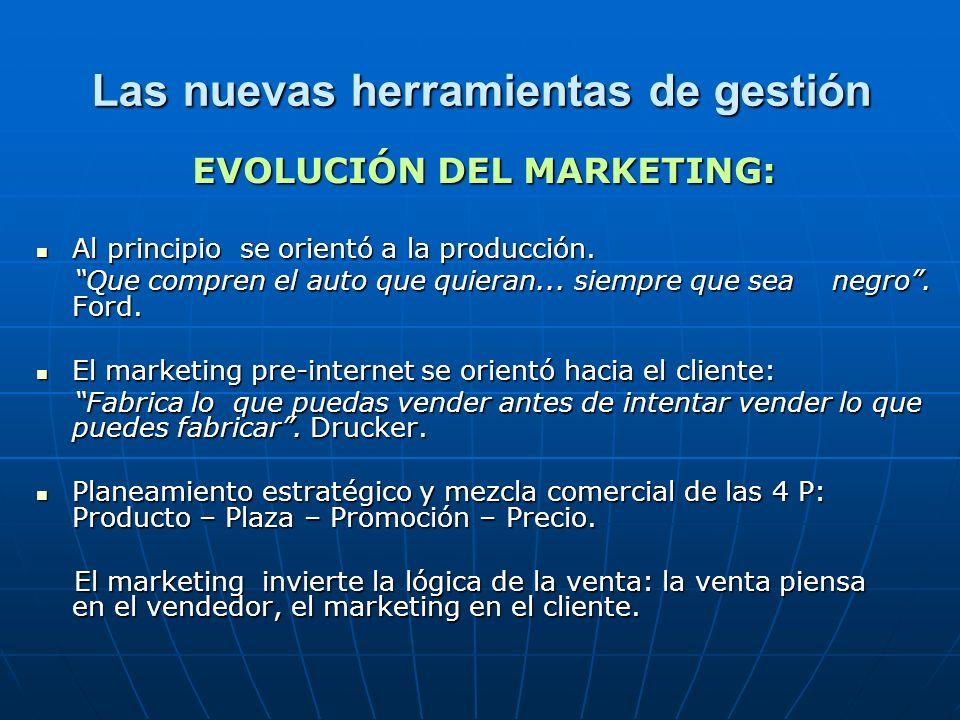 Las nuevas herramientas de gestión EVOLUCIÓN DEL MARKETING: Al principio se orientó a la producción.