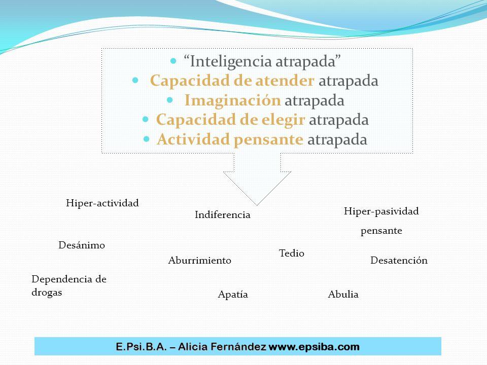 Inteligencia atrapada Capacidad de atender atrapada Imaginación atrapada Capacidad de elegir atrapada Actividad pensante atrapada Hiper-actividad Depe
