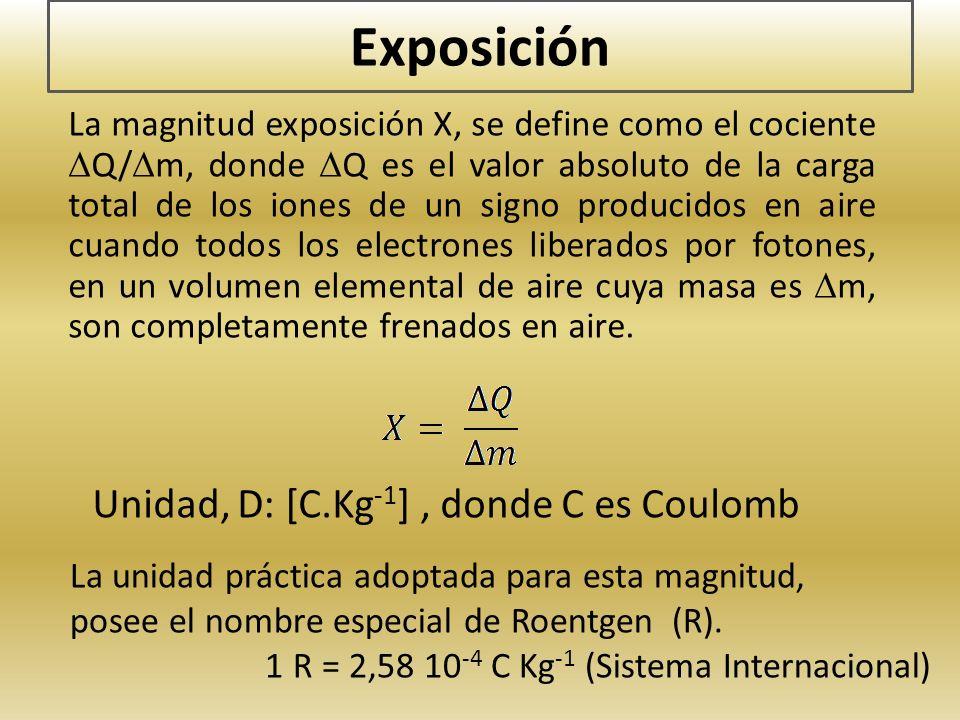 Exposición La magnitud exposición X, se define como el cociente Q/ m, donde Q es el valor absoluto de la carga total de los iones de un signo producid