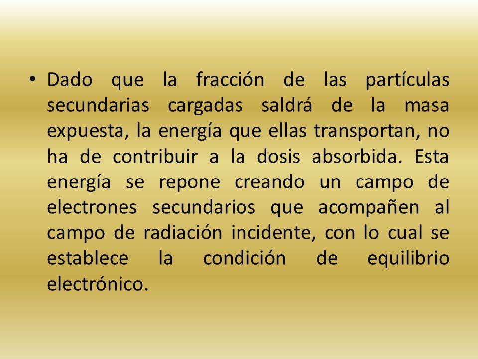 Dado que la fracción de las partículas secundarias cargadas saldrá de la masa expuesta, la energía que ellas transportan, no ha de contribuir a la dos