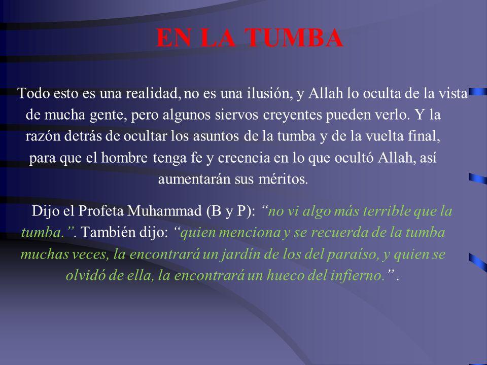 EN LA TUMBA Dijo el Profeta Muhammad (B y P): al creyente se le amplia su tumba setenta brazos por setenta---se ilumina su tumba---se duerme como un r