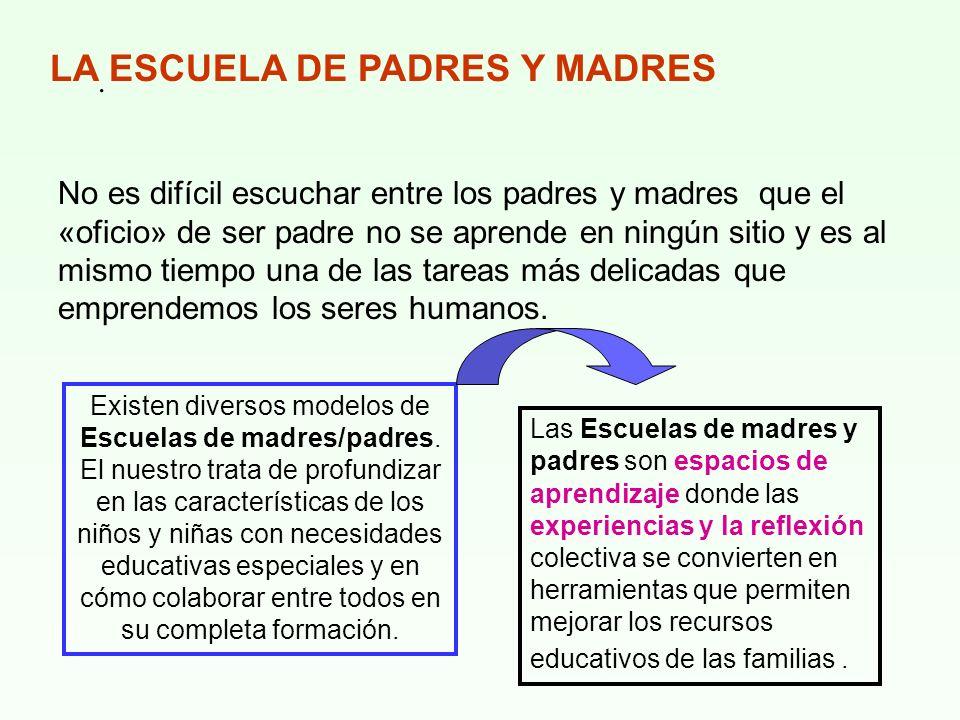 . LA ESCUELA DE PADRES Y MADRES No es difícil escuchar entre los padres y madres que el «oficio» de ser padre no se aprende en ningún sitio y es al mi