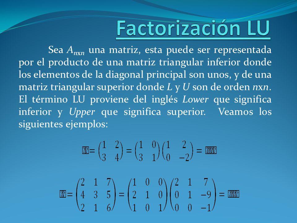 Sea A nxn una matriz, esta puede ser representada por el producto de una matriz triangular inferior donde los elementos de la diagonal principal son u