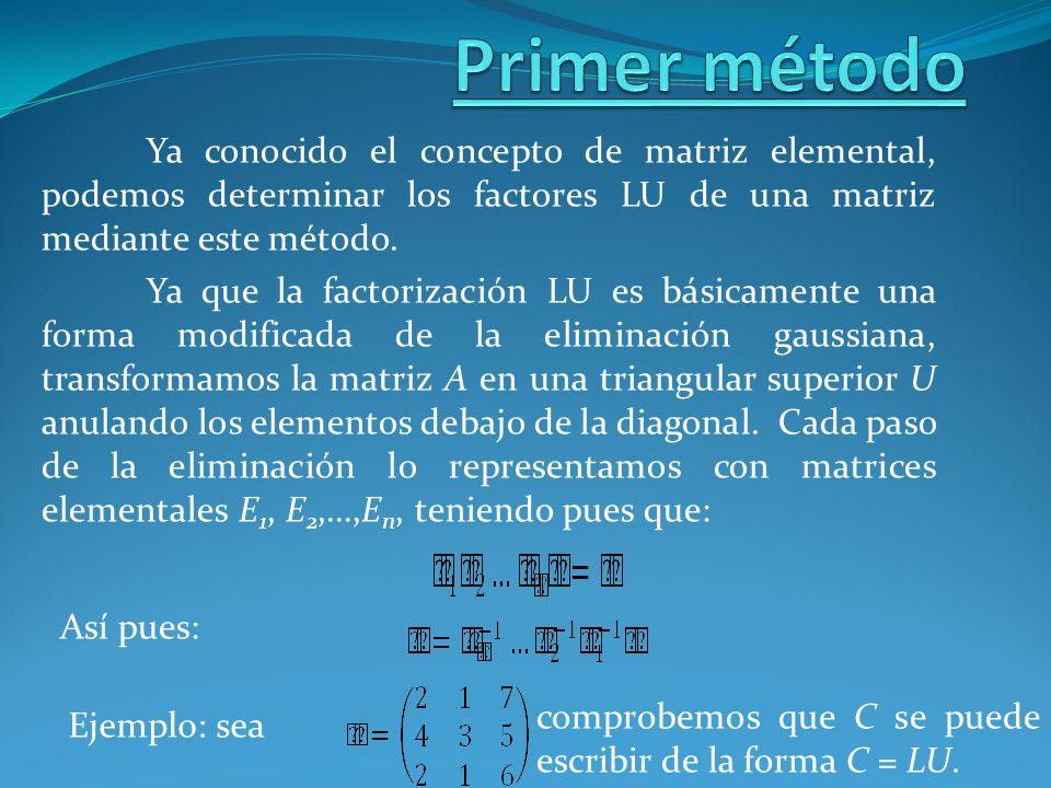 Ya conocido el concepto de matriz elemental, podemos determinar los factores LU de una matriz mediante este método. Ya que la factorización LU es bási