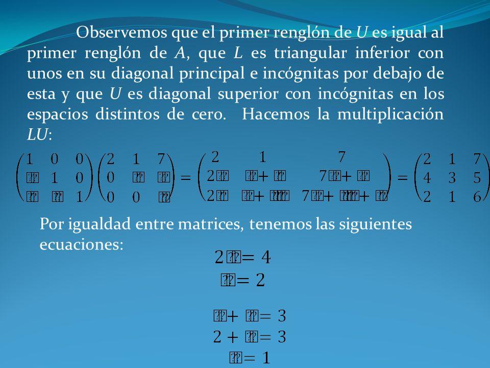 Observemos que el primer renglón de U es igual al primer renglón de A, que L es triangular inferior con unos en su diagonal principal e incógnitas por
