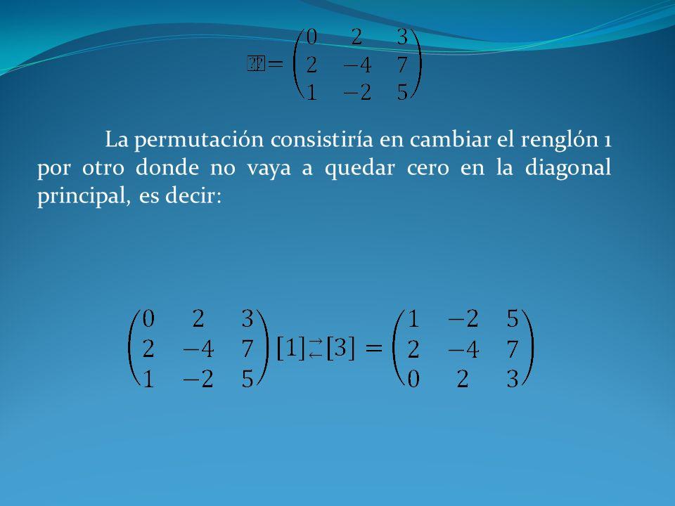 La permutación consistiría en cambiar el renglón 1 por otro donde no vaya a quedar cero en la diagonal principal, es decir: