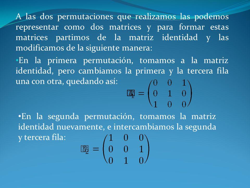 A las dos permutaciones que realizamos las podemos representar como dos matrices y para formar estas matrices partimos de la matriz identidad y las mo