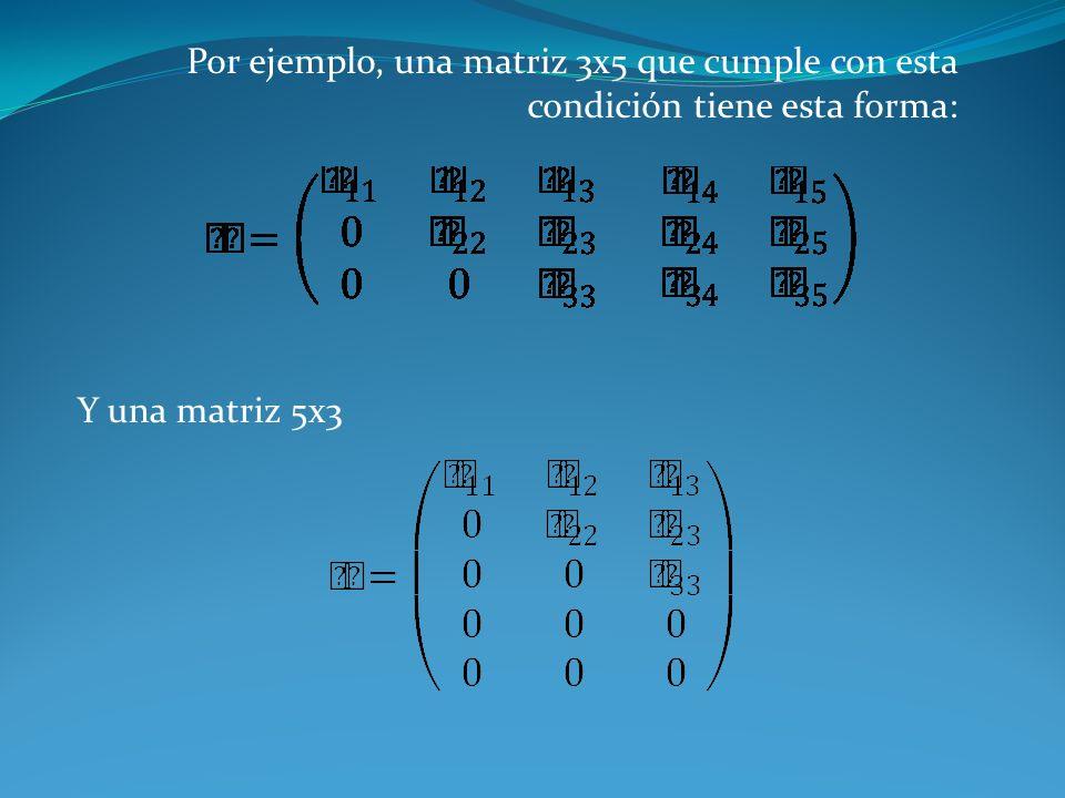 Por ejemplo, una matriz 3x5 que cumple con esta condición tiene esta forma: Y una matriz 5x3