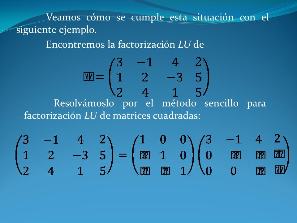 Veamos cómo se cumple esta situación con el siguiente ejemplo. Encontremos la factorización LU de Resolvámoslo por el método sencillo para factorizaci