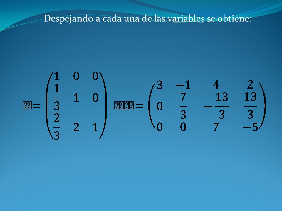 Despejando a cada una de las variables se obtiene: