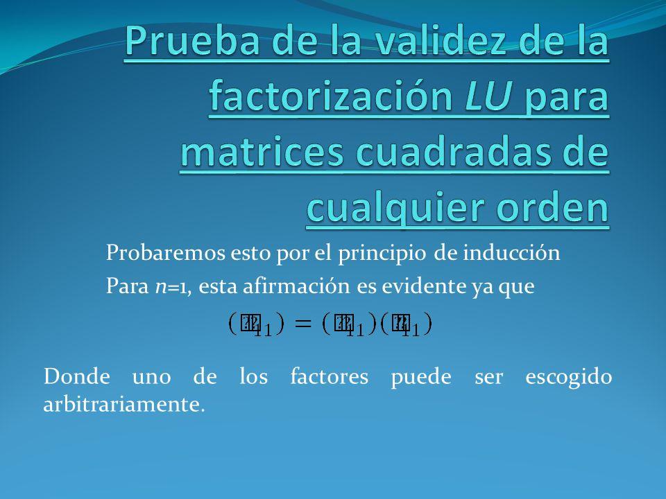 Probaremos esto por el principio de inducción Para n=1, esta afirmación es evidente ya que Donde uno de los factores puede ser escogido arbitrariament