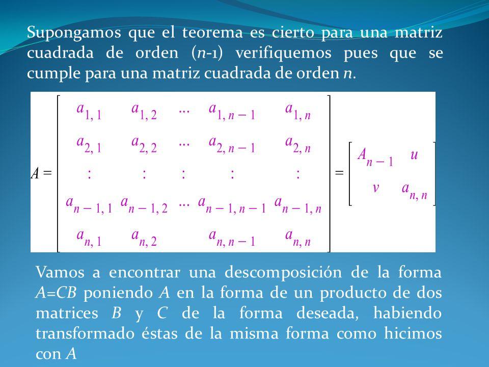 Supongamos que el teorema es cierto para una matriz cuadrada de orden (n-1) verifiquemos pues que se cumple para una matriz cuadrada de orden n. Vamos