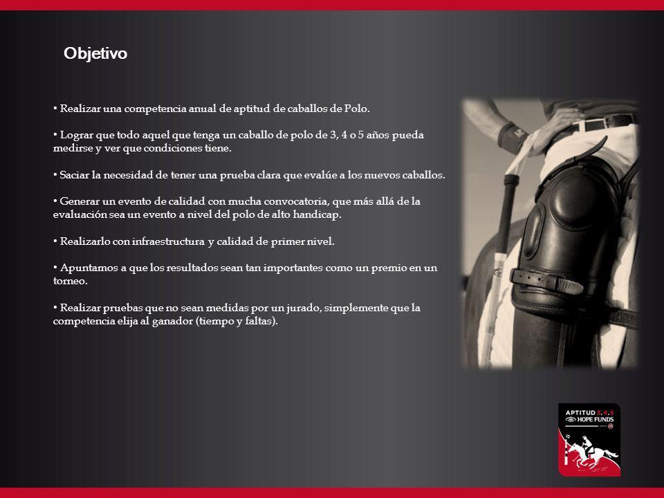 Objetivo Realizar una competencia anual de aptitud de caballos de Polo. Lograr que todo aquel que tenga un caballo de polo de 3, 4 o 5 años pueda medi