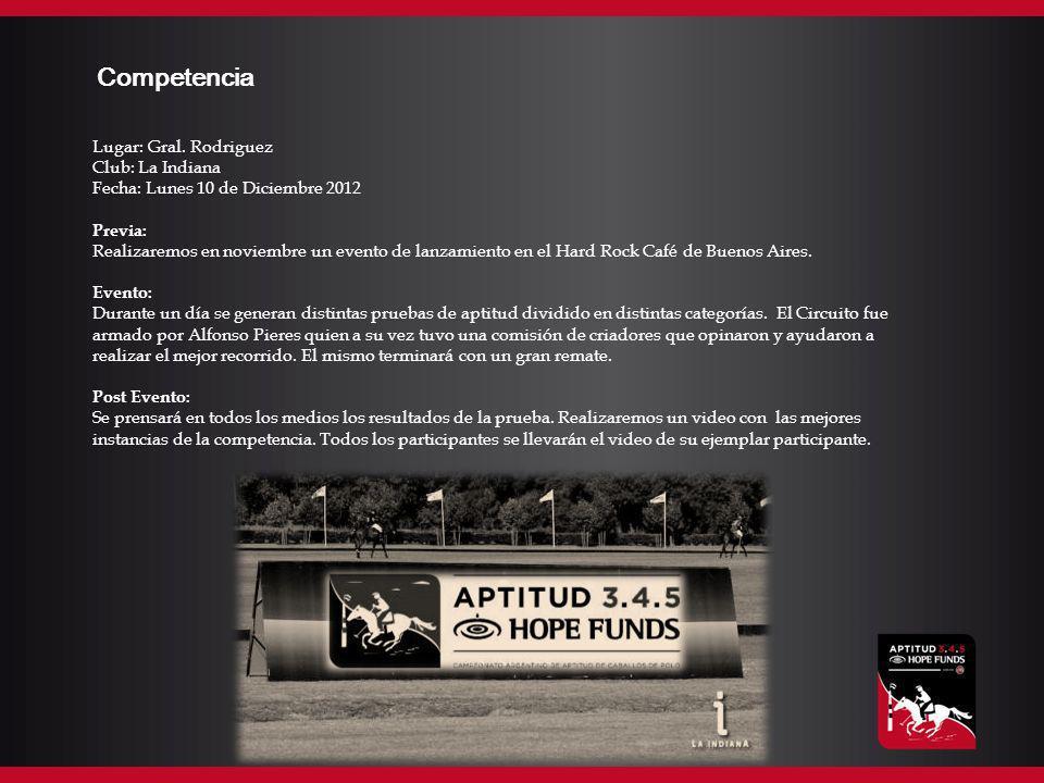 Competencia Lugar: Gral. Rodriguez Club: La Indiana Fecha: Lunes 10 de Diciembre 2012 Previa: Realizaremos en noviembre un evento de lanzamiento en el
