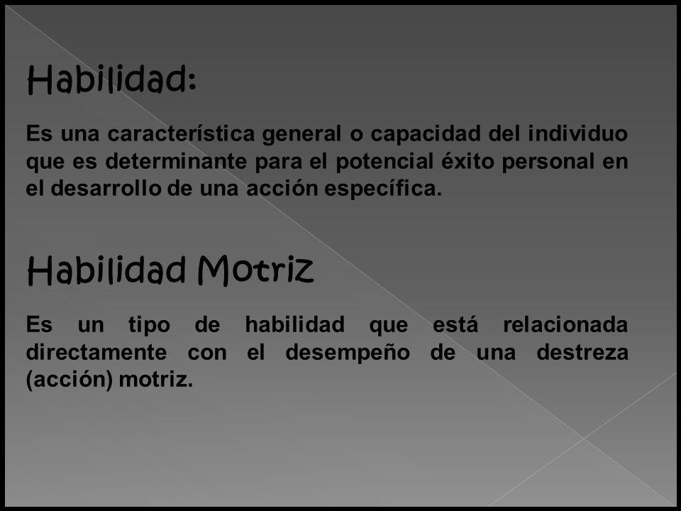 Habilidad Motriz Es un tipo de habilidad que está relacionada directamente con el desempeño de una destreza (acción) motriz. Habilidad: Es una caracte