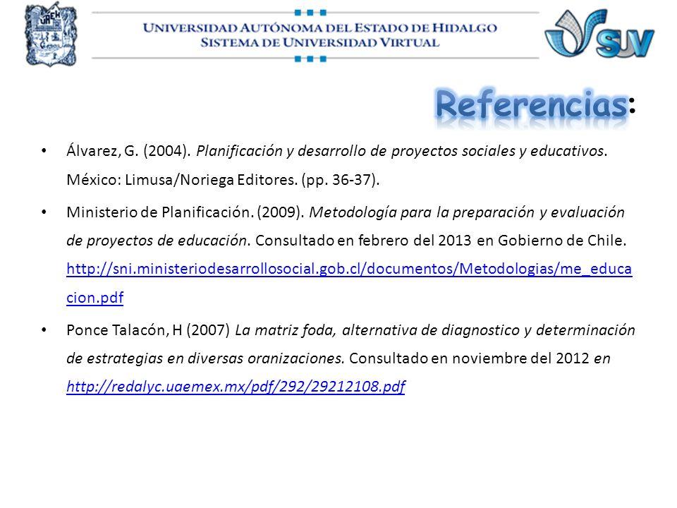 Álvarez, G. (2004). Planificación y desarrollo de proyectos sociales y educativos. México: Limusa/Noriega Editores. (pp. 36-37). Ministerio de Planifi
