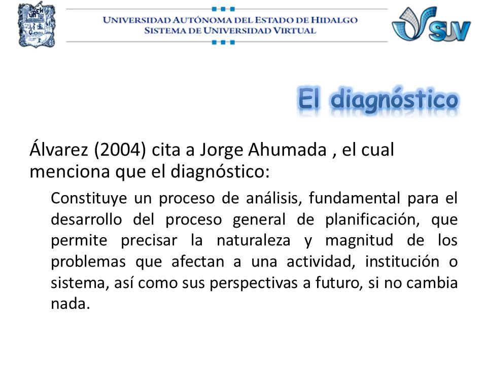 Álvarez (2004) cita a Jorge Ahumada, el cual menciona que el diagnóstico: Constituye un proceso de análisis, fundamental para el desarrollo del proces