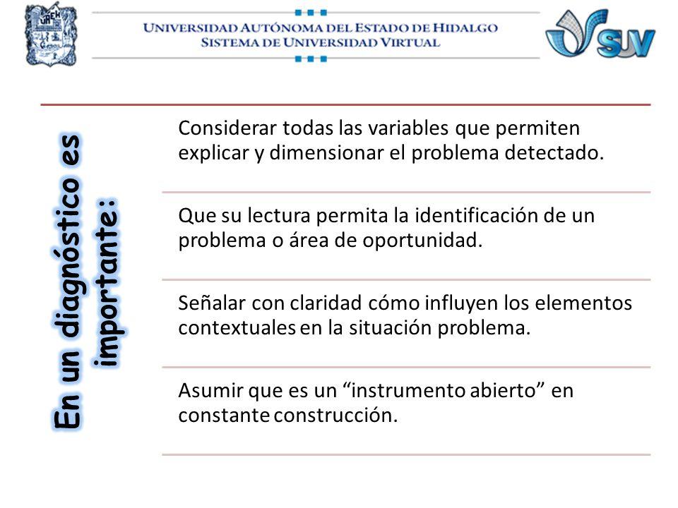 Considerar todas las variables que permiten explicar y dimensionar el problema detectado. Que su lectura permita la identificación de un problema o ár