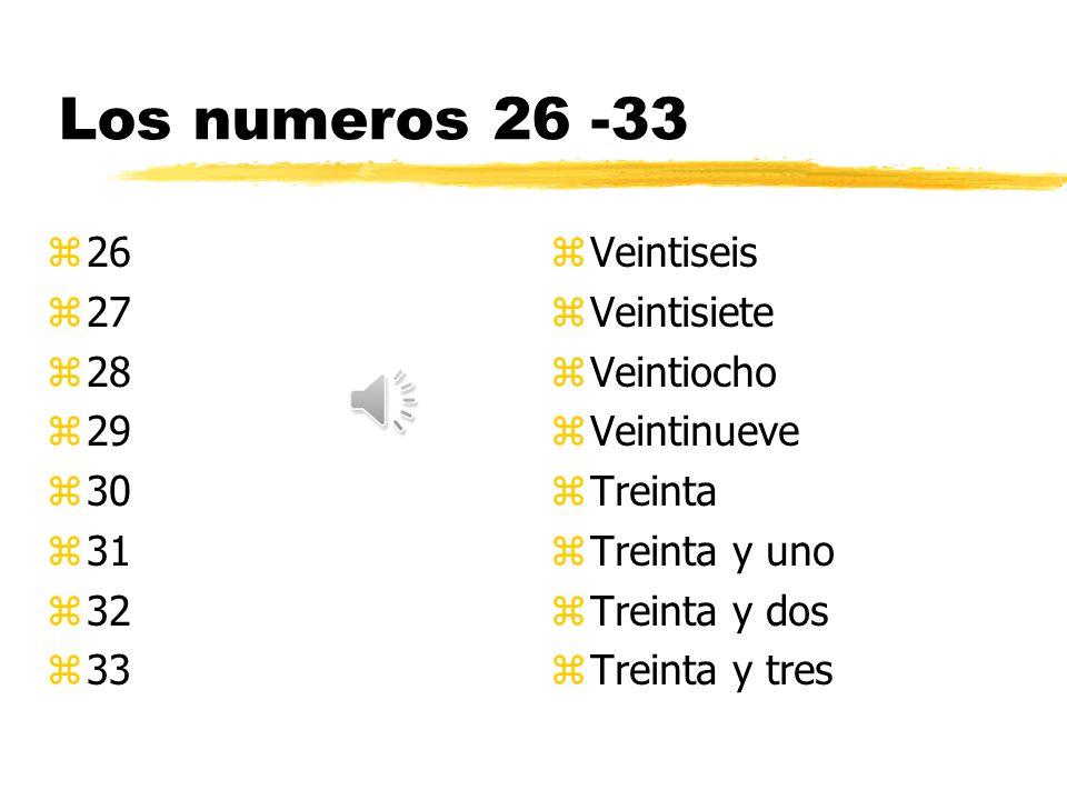 Los numeros 18 - 25 z18 z19 z20 z21 z22 z23 z24 z25 z Dieciocho z Diecinueve z Veinte z Veintiuno z Veintidos z Veintitres z Veinticuatro z Veinticinco