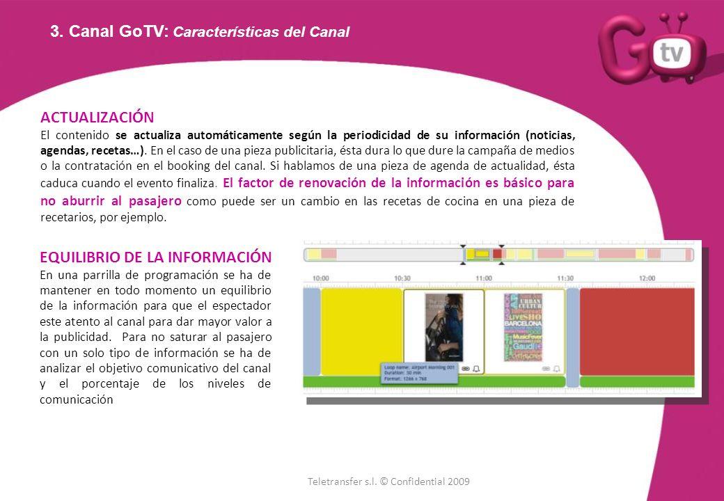 3. Canal GoTV: Características del Canal ACTUALIZACIÓN El contenido se actualiza automáticamente según la periodicidad de su información (noticias, ag