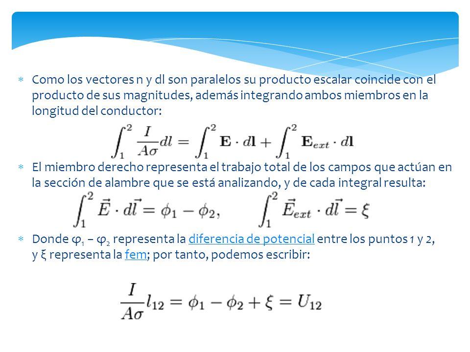 Como los vectores n y dl son paralelos su producto escalar coincide con el producto de sus magnitudes, además integrando ambos miembros en la longitud del conductor: El miembro derecho representa el trabajo total de los campos que actúan en la sección de alambre que se está analizando, y de cada integral resulta: Donde φ 1 φ 2 representa la diferencia de potencial entre los puntos 1 y 2, y ξ representa la fem; por tanto, podemos escribir:diferencia de potencialfem