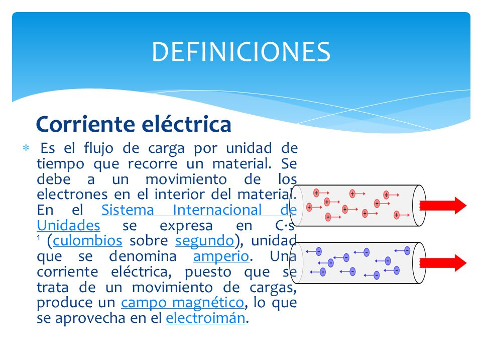 La corriente eléctrica está definida por convenio en el sentido contrario al desplazamiento de los electrones.electrones El instrumento usado para medir la intensidad de la corriente eléctrica es el galvanómetro que, calibrado en amperios, se llama amperímetro, colocado en serie con el conductor cuya intensidad se desea medir.galvanómetroamperímetro