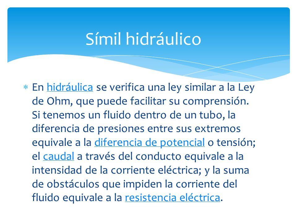 En hidráulica se verifica una ley similar a la Ley de Ohm, que puede facilitar su comprensión.
