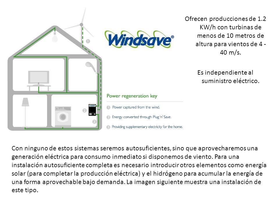 Ofrecen producciones de 1.2 KW/h con turbinas de menos de 10 metros de altura para vientos de 4 - 40 m/s. Es independiente al suministro eléctrico. Co