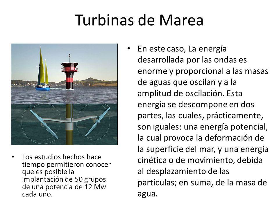 Turbinas de Marea Los estudios hechos hace tiempo permitieron conocer que es posible la implantación de 50 grupos de una potencia de 12 Mw cada uno. E
