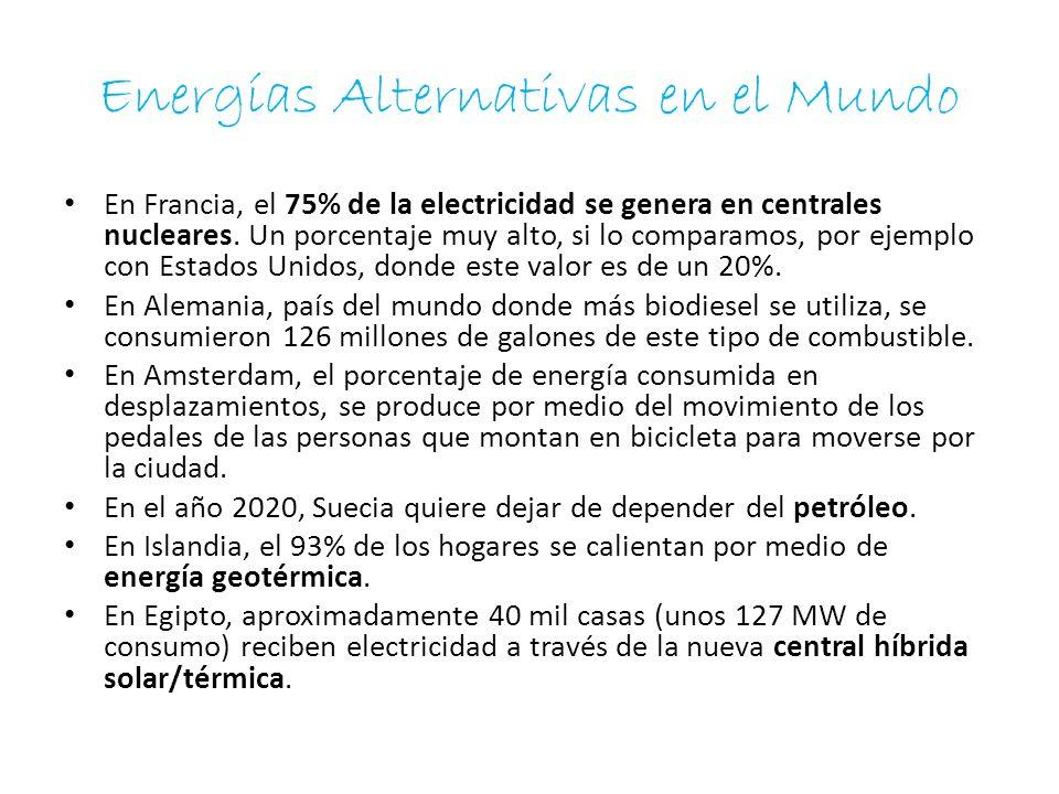 Energías Alternativas en el Mundo En Francia, el 75% de la electricidad se genera en centrales nucleares. Un porcentaje muy alto, si lo comparamos, po