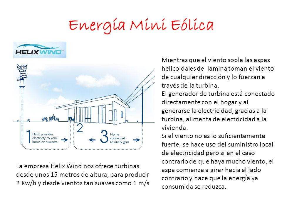 Energía Mini Eólica La empresa Helix Wind nos ofrece turbinas desde unos 15 metros de altura, para producir 2 Kw/h y desde vientos tan suaves como 1 m/s Mientras que el viento sopla las aspas helicoidales de lámina toman el viento de cualquier dirección y lo fuerzan a través de la turbina.