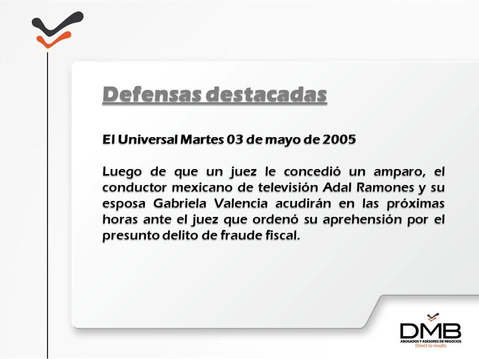 El Universal Martes 03 de mayo de 2005 Luego de que un juez le concedió un amparo, el conductor mexicano de televisión Adal Ramones y su esposa Gabrie