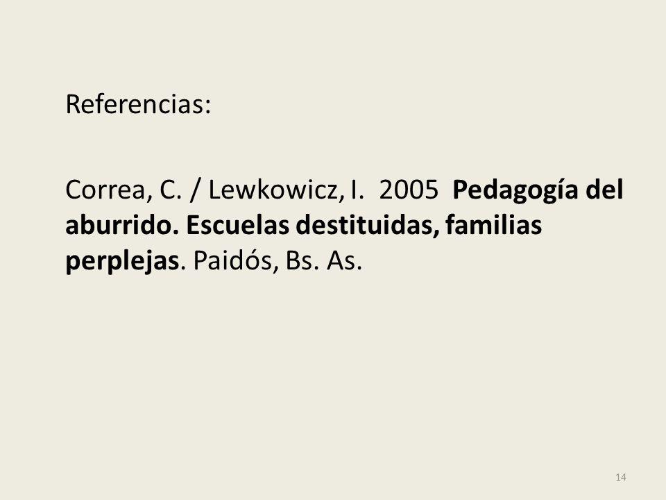 Referencias: Correa, C. / Lewkowicz, I. 2005 Pedagogía del aburrido. Escuelas destituidas, familias perplejas. Paidós, Bs. As. 14