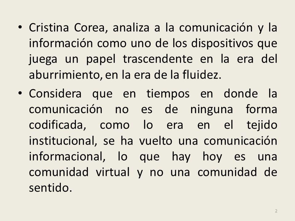 Cristina Corea, analiza a la comunicación y la información como uno de los dispositivos que juega un papel trascendente en la era del aburrimiento, en