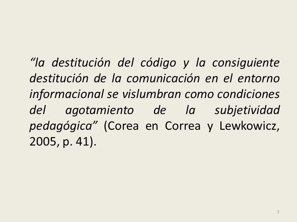 Referencias: Correa, C./ Lewkowicz, I. 2005 Pedagogía del aburrido.