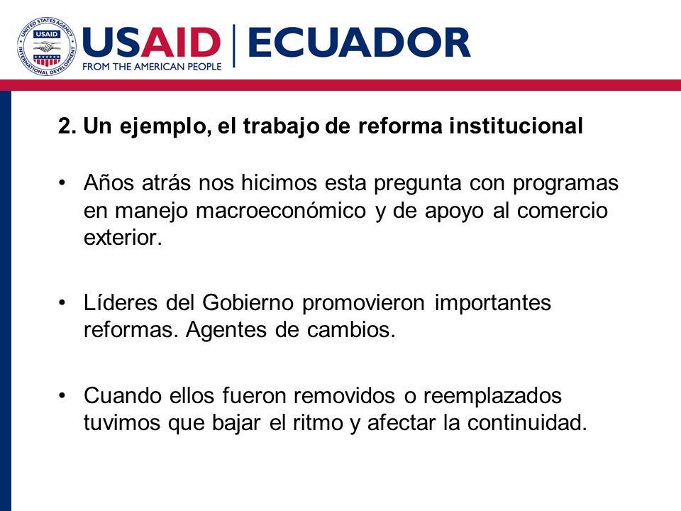 2. Un ejemplo, el trabajo de reforma institucional Años atrás nos hicimos esta pregunta con programas en manejo macroeconómico y de apoyo al comercio