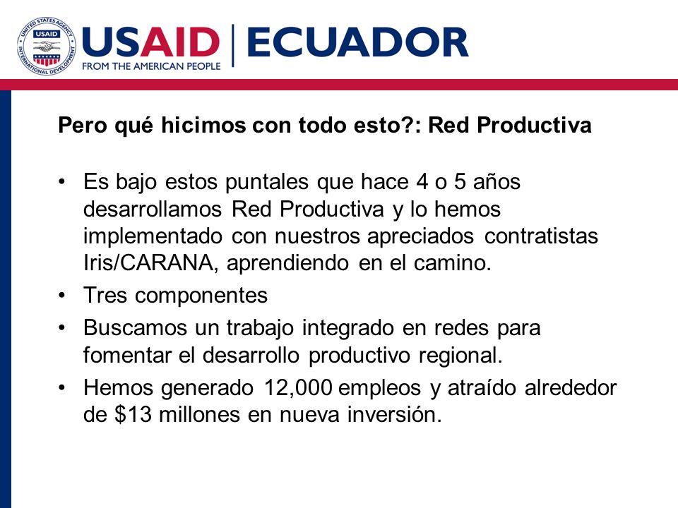 Pero qué hicimos con todo esto : Red Productiva Es bajo estos puntales que hace 4 o 5 años desarrollamos Red Productiva y lo hemos implementado con nuestros apreciados contratistas Iris/CARANA, aprendiendo en el camino.
