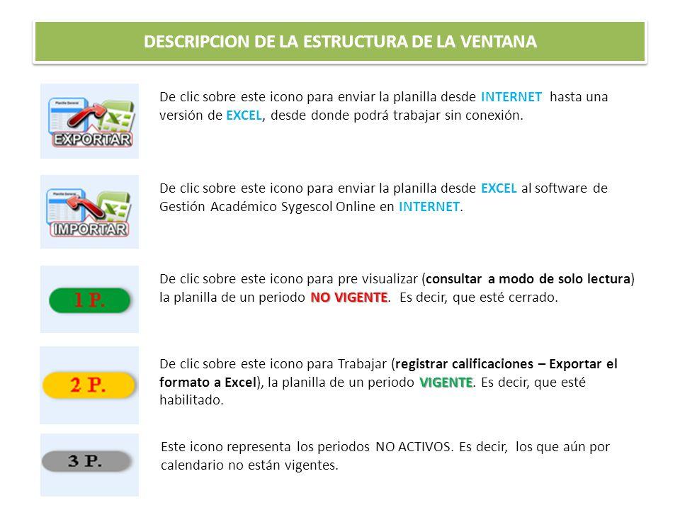 DESCRIPCION DE LA ESTRUCTURA DE LA VENTANA De clic sobre este icono para enviar la planilla desde INTERNET hasta una versión de EXCEL, desde donde pod