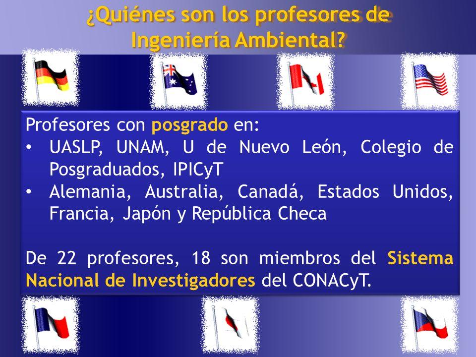 15 ¿Quiénes son los profesores de Ingeniería Ambiental? Profesores con posgrado en: UASLP, UNAM, U de Nuevo León, Colegio de Posgraduados, IPICyT Alem