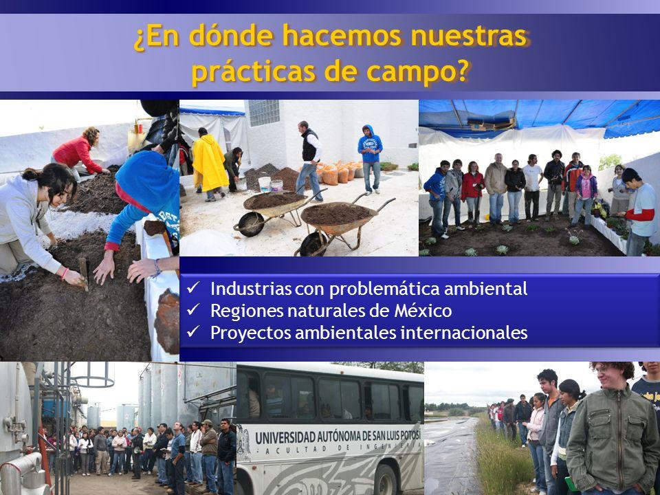 17 ¿En dónde hacemos nuestras prácticas de campo? Industrias con problemática ambiental Regiones naturales de México Proyectos ambientales internacion