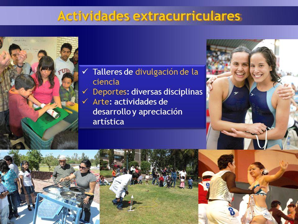 18 Actividades extracurriculares Talleres de divulgación de la ciencia Deportes: diversas disciplinas Arte: actividades de desarrollo y apreciación ar