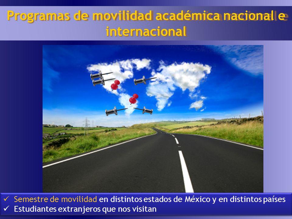 19 Programas de movilidad académica nacional e internacional Semestre de movilidad en distintos estados de México y en distintos países Estudiantes ex