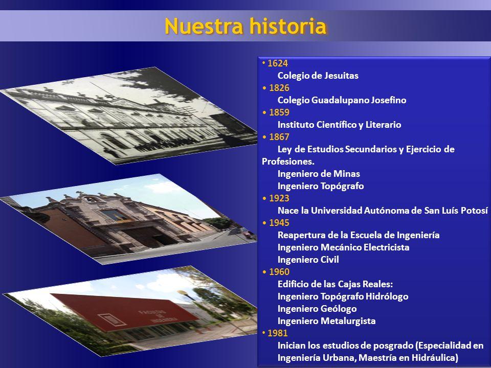 Nuestra historia 1624 Colegio de Jesuitas 1826 Colegio Guadalupano Josefino 1859 Instituto Científico y Literario 1867 Ley de Estudios Secundarios y E