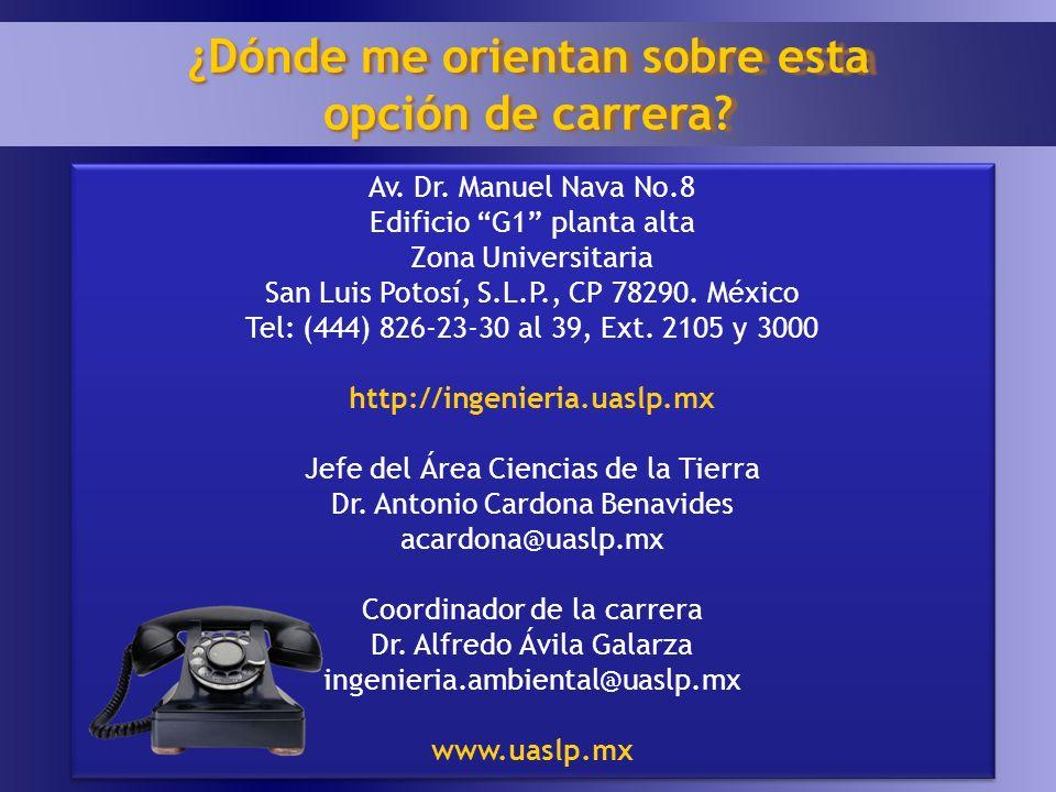Av. Dr. Manuel Nava No.8 Edificio G1 planta alta Zona Universitaria San Luis Potosí, S.L.P., CP 78290. México Tel: (444) 826-23-30 al 39, Ext. 2105 y