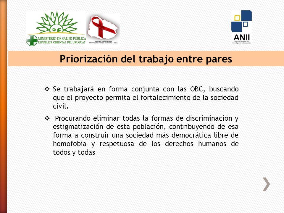 Priorización del trabajo entre pares Se trabajará en forma conjunta con las OBC, buscando que el proyecto permita el fortalecimiento de la sociedad civil.