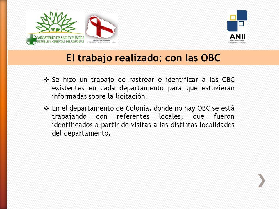 El trabajo realizado: con las OBC Se hizo un trabajo de rastrear e identificar a las OBC existentes en cada departamento para que estuvieran informadas sobre la licitación.
