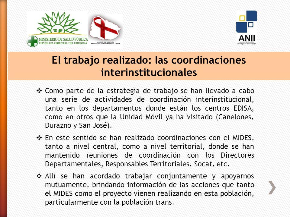 El trabajo realizado: las coordinaciones interinstitucionales Como parte de la estrategia de trabajo se han llevado a cabo una serie de actividades de coordinación interinstitucional, tanto en los departamentos donde están los centros EDISA, como en otros que la Unidad Móvil ya ha visitado (Canelones, Durazno y San José).