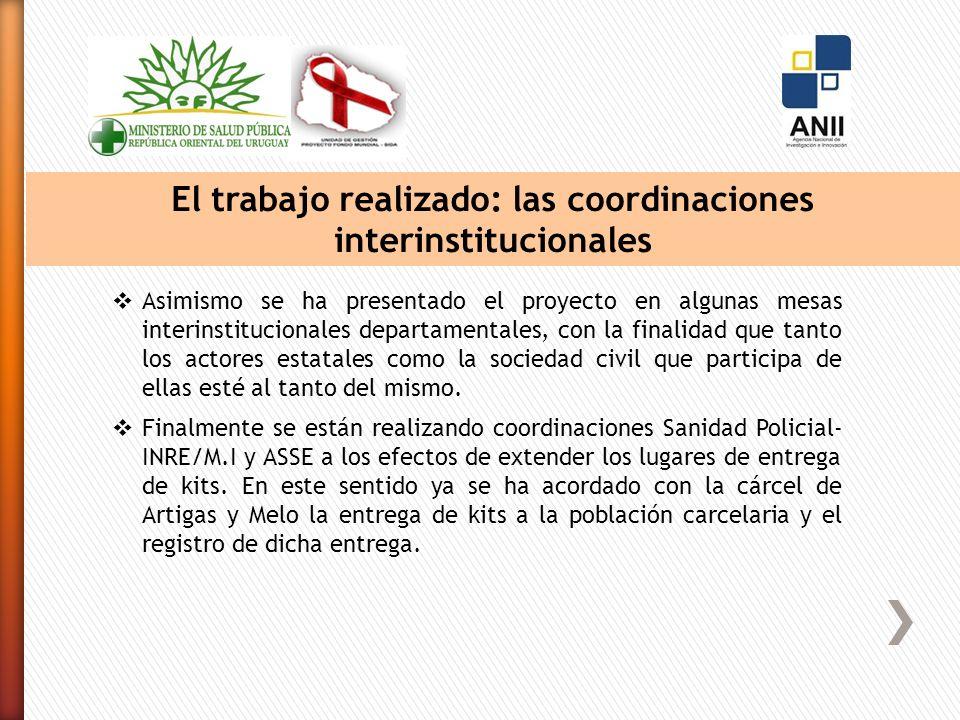 El trabajo realizado: las coordinaciones interinstitucionales Asimismo se ha presentado el proyecto en algunas mesas interinstitucionales departamentales, con la finalidad que tanto los actores estatales como la sociedad civil que participa de ellas esté al tanto del mismo.